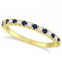 Blue Sapphire & Diamond Wedding Band Anniversary Ring in 14k Yellow Gold (0.50ct)