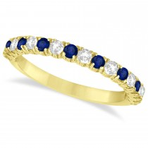 Blue Sapphire & Diamond Wedding Band Anniversary Ring in 14k Yellow Gold (0.75ct)