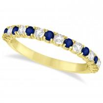 Blue Sapphire & Diamond Wedding Band Anniversary Ring in 14k Yellow Gold (0.75ct)