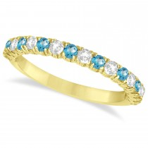 Blue Topaz & Diamond Wedding Band Anniversary Ring in 14k Yellow Gold (0.75ct)