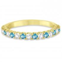 Blue Topaz & Diamond Wedding Band Anniversary Ring in 14k Yellow Gold (0.75ct)