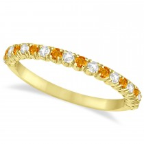 Citrine & Diamond Wedding Band Anniversary Ring in 14k Yellow Gold (0.50ct)