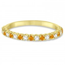 Citrine & Diamond Wedding Band Anniversary Ring in 14k Yellow Gold (0.50ct)