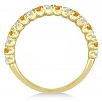 Citrine & Diamond Wedding Band Anniversary Ring in 14k Yellow Gold (0.75ct)