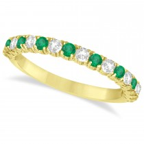 Emerald & Diamond Wedding Band Anniversary Ring in 14k Yellow Gold (0.75ct)