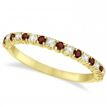Garnet & Diamond Wedding Band Anniversary Ring in 14k Yellow Gold (0.50ct)