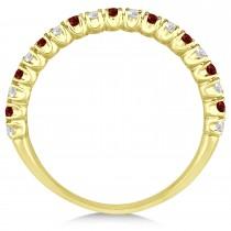 Garnet & Diamond Wedding Band Anniversary Ring in 14k Yellow Gold (0.50ct)