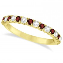 Garnet & Diamond Wedding Band Anniversary Ring in 14k Yellow Gold (0.75ct)