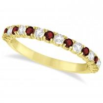 Garnet & Diamond Wedding Band Anniversary Ring in 14k Yellow Gold (0.75ct)