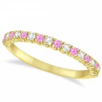 Pink Sapphire & Diamond Wedding Band Anniversary Ring in 14k Yellow Gold (0.50ct)