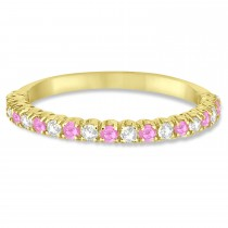 Pink Sapphire & Diamond Wedding Band Anniversary Ring in 14k Yellow Gold (0.50ct)