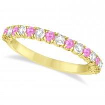Pink Sapphire & Diamond Wedding Band Anniversary Ring in 14k Yellow Gold (0.75ct)