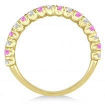 Pink Sapphire & Diamond Wedding Band Anniversary Ring in 14k Yellow Gold (0.75ct)