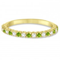 Peridot & Diamond Wedding Band Anniversary Ring in 14k Yellow Gold (0.50ct)