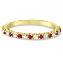 Ruby & Diamond Wedding Band Anniversary Ring in 14k Yellow Gold (0.50ct)