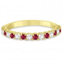 Ruby & Diamond Wedding Band Anniversary Ring in 14k Yellow Gold (0.75ct)