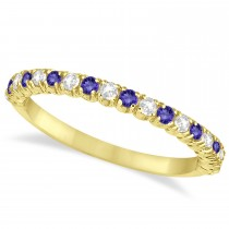 Tanzanite & Diamond Wedding Band Anniversary Ring in 14k Yellow Gold (0.50ct)