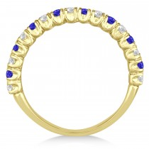 Tanzanite & Diamond Wedding Band Anniversary Ring in 14k Yellow Gold (0.75ct)
