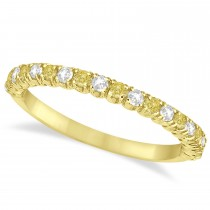 Yellow & White Diamond Wedding Band Anniversary Ring in 14k Yellow Gold (0.50ct)