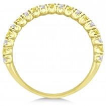Yellow & White Diamond Wedding Band Anniversary Ring in 14k Yellow Gold (0.50ct)