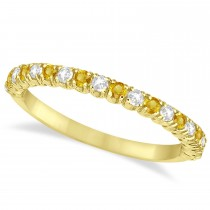 Yellow Sapphire & Diamond Wedding Band Anniversary Ring in 14k Yellow Gold (0.50ct)