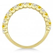 Yellow Sapphire & Diamond Wedding Band Anniversary Ring in 14k Yellow Gold (0.75ct)