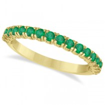 Half-Eternity Pave-set Emerald Stacking Ring 14k Yellow Gold (0.95ct)