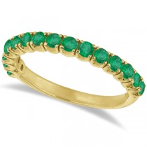 Emerald Semi-Eternity Ring Anniversary Band 14k Yellow Gold (1.09ct)