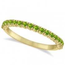 Half-Eternity Pave-Set Thin Peridot Stack Ring 14k Yellow Gold (0.65ct)