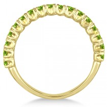 Half-Eternity Pave-Set Peridot Stacking Ring 14k Yellow Gold (0.95ct)