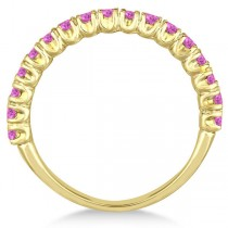 Half-Eternity Pave Pink Sapphire Stacking Ring 14k Yellow Gold (0.95ct)