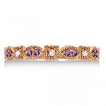 Vintage Stackable Diamond & Amethyst Ring 14k Rose Gold (0.15ct)
