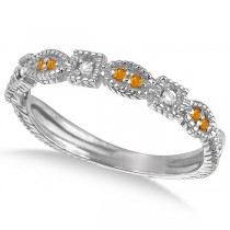 Vintage Stackable Diamond & Citrine Ring 14k White Gold (0.15ct)