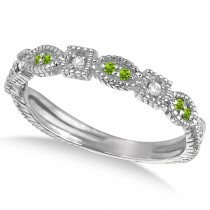 Vintage Stackable Diamond & Peridot Ring 14k White Gold (0.15ct)