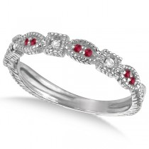 Vintage Stackable Diamond & Ruby Ring 14k White Gold (0.15ct)