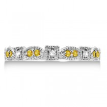 Vintage Diamond & Yellow Sapphire Ring 14k White Gold (0.15ct)
