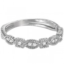 Diamond Stackable Vintage Style Ring in 14k White Gold (0.15ct)