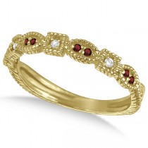 Vintage Stackable Diamond & Garnet Ring 14k Yellow Gold (0.15ct)