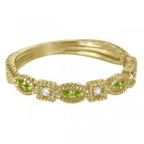 Vintage Stackable Diamond & Peridot Ring 14k Yellow Gold (0.15ct)