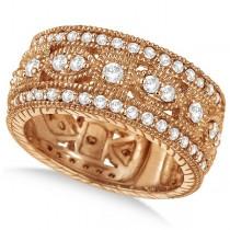 Vintage Style Byzantine Wide Band Diamond Ring 18k Rose Gold (1.37ct)