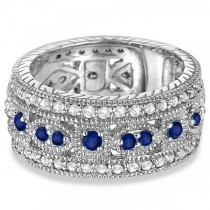 Vintage Byzantine Diamond & Blue Sapphire Ring 14k White Gold (1.37ct)