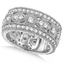 Vintage Style Byzantine Wide Band Diamond Ring 14k White Gold (1.37ct)