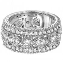Vintage Style Byzantine Wide Band Diamond Ring 14k White Gold (1.37ct)