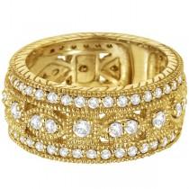 Vintage Byzantine Wide Band Diamond Ring 14k Yellow Gold (1.37ct)