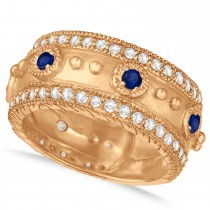 Blue Sapphire Byzantine Antique Anniversary Band 14k Rose Gold (1.06ct)