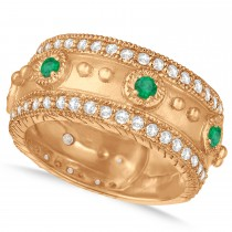 Emerald Byzantine Antique Anniversary Band 14k Rose Gold (1.06ct)