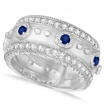 Blue Sapphire Byzantine Antique Anniversary Band 14k White Gold (1.06ct)