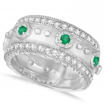 Emerald Byzantine Antique Anniversary Band 14k White Gold (1.06ct)