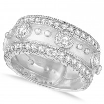 Diamond Byzantine Antique Anniversary Band 14k White Gold (1.06ct)