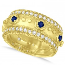 Blue Sapphire Byzantine Antique Anniversary Band 14k Yellow Gold (1.06ct)